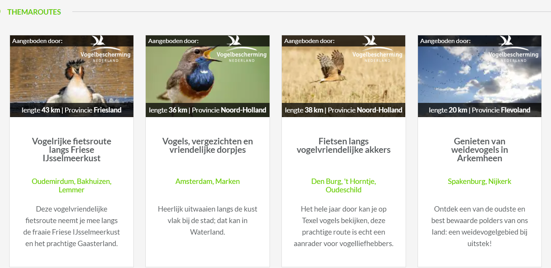 Fietsroutes Vogelbescherming voor app Fietsnetwerk